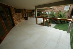 Tiled deck, Cedar Nautical handrail, External fireplace/seating