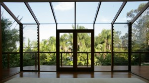 Glass Roof with Cedar doors and louvres